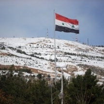 Qasioun Mountain covered with snow